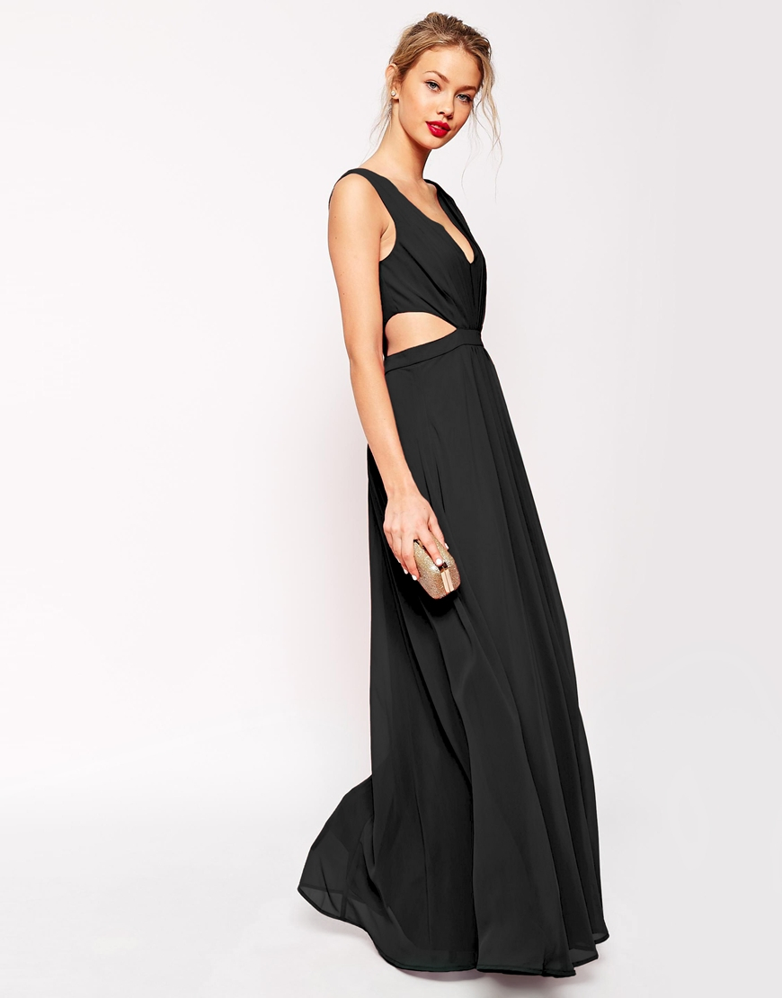 Asos Side Cut Out Maxi Dress Black In Lyst