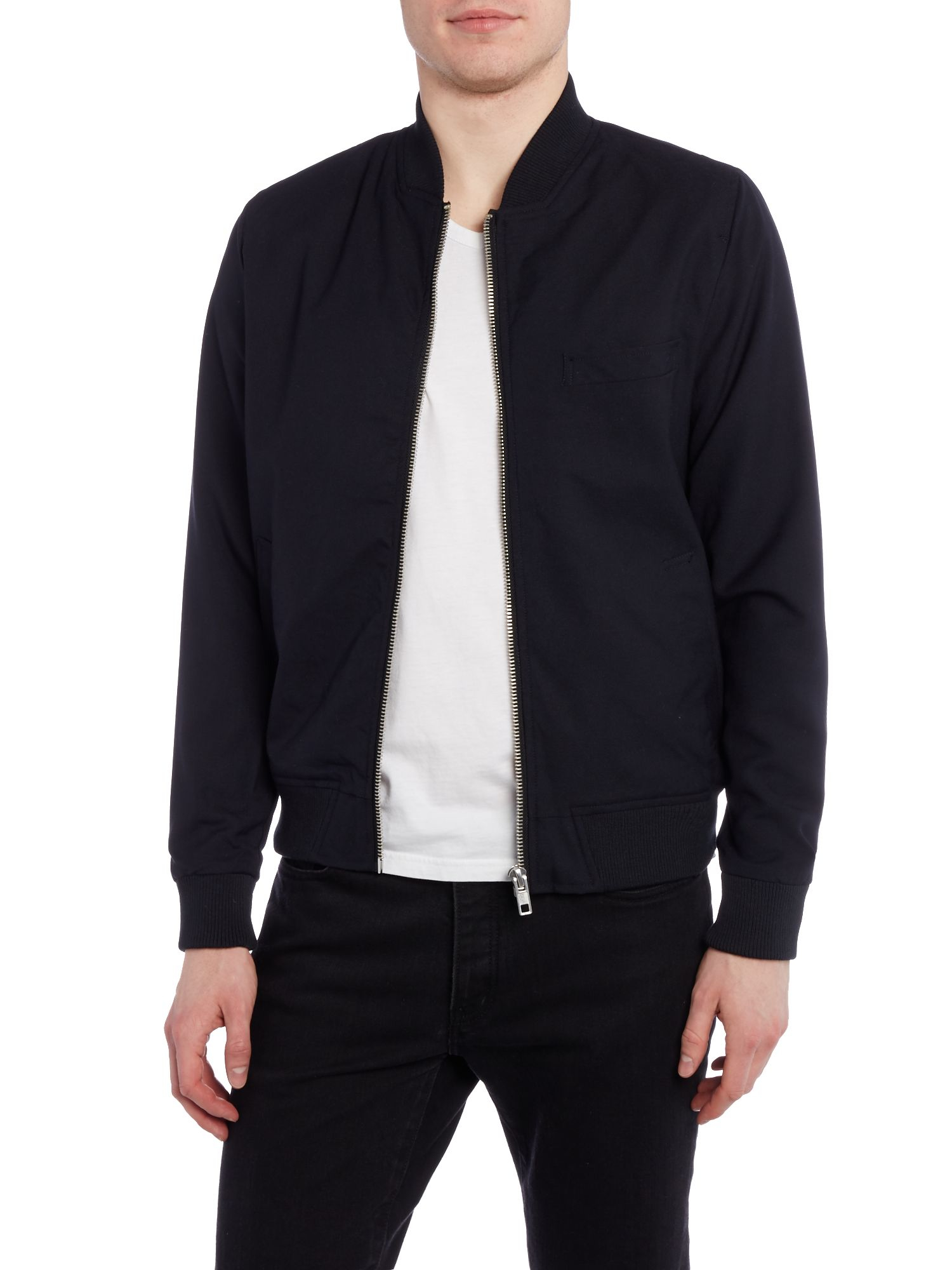 Bellfield Hakone Zip Thru Baseball Collar Bomber Jacket in Blue