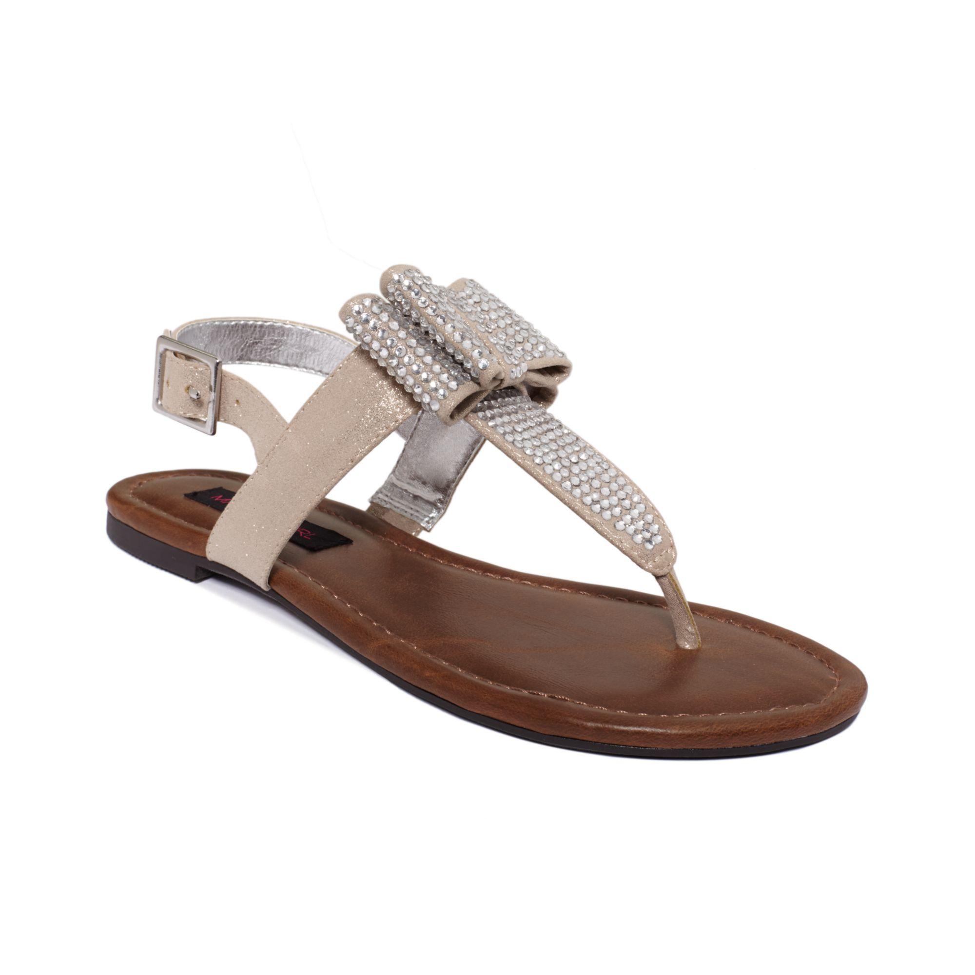 Material Girl Shayla Flat Sandals In Metallic Lyst