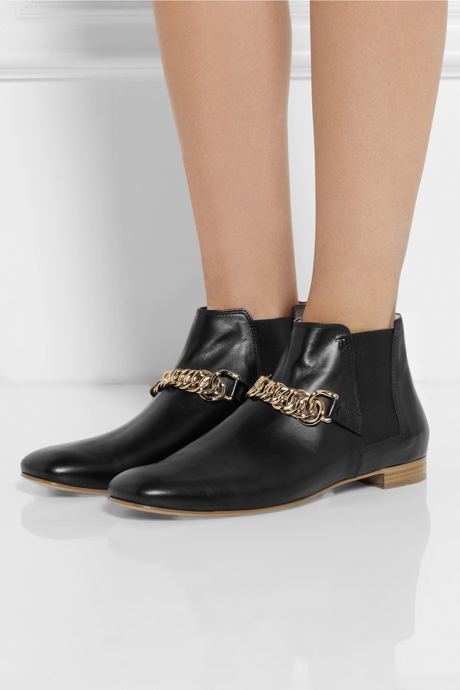 Tod's Chain-Trimmed Leather Chelsea Boots in Black