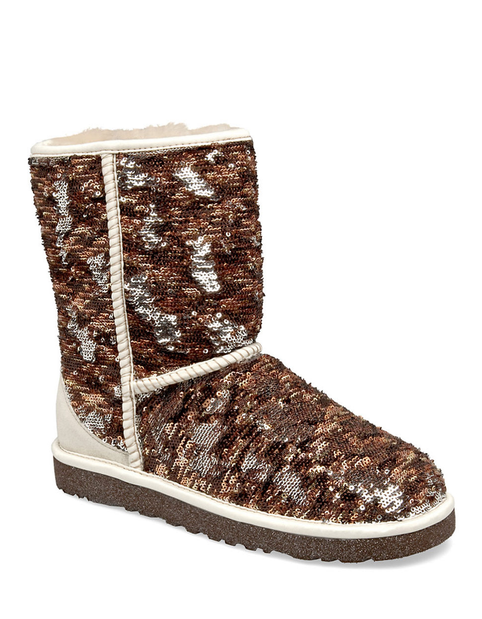 Ugg classic short sparkle boots in brown tan sequins lyst