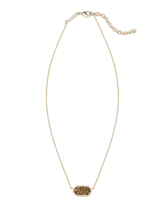 Kendra Scott Elisa Iridescent Druzy Necklace In Metallic