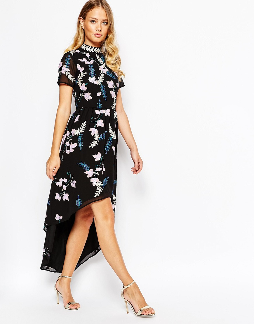 e013086fc6b Frock and Frill High Neck Skater Dress In Embroidered Floral Embellishment  With High Low Hem - Black/multi