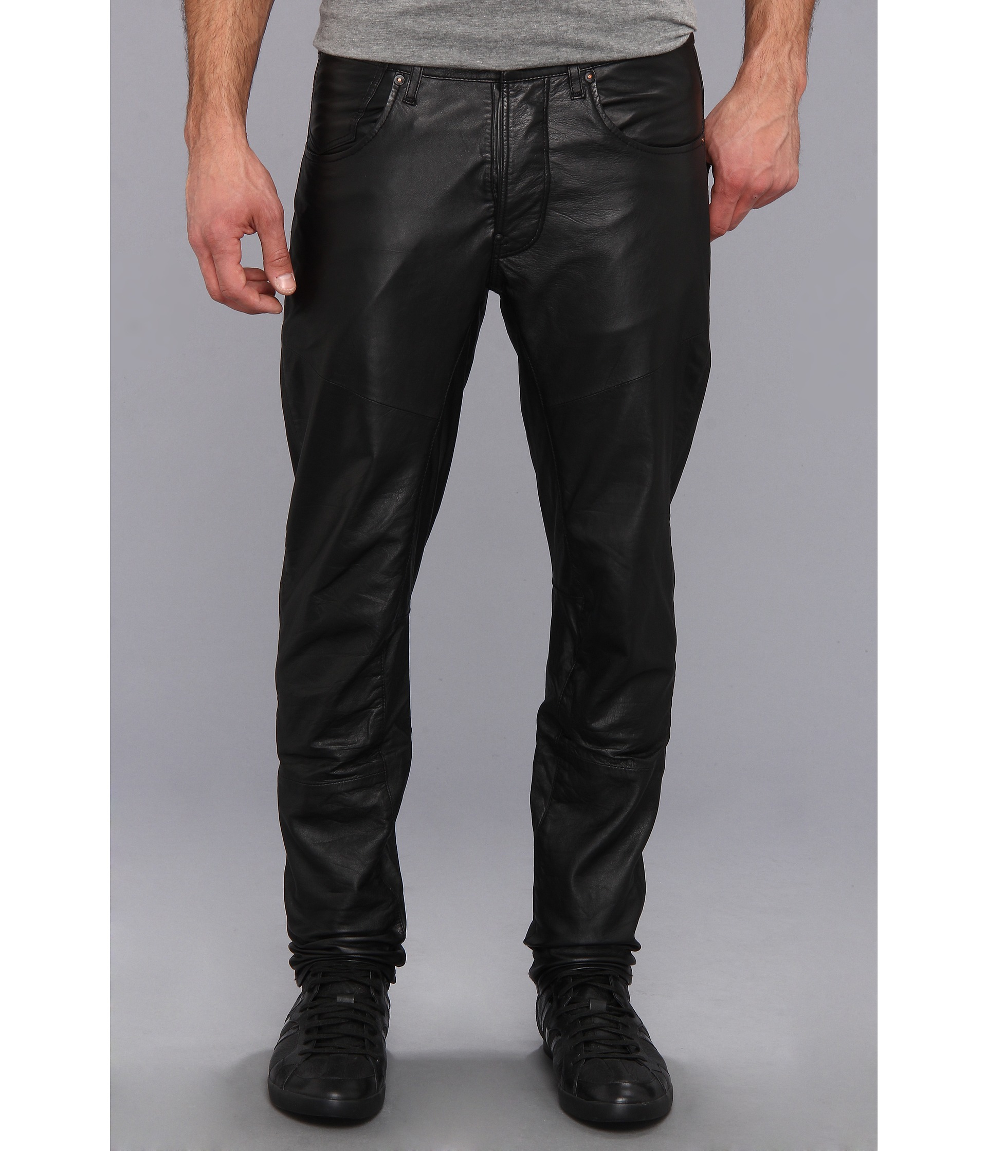 G Star Raw Afrojack Acrotch Tapered Leather Pant In Black