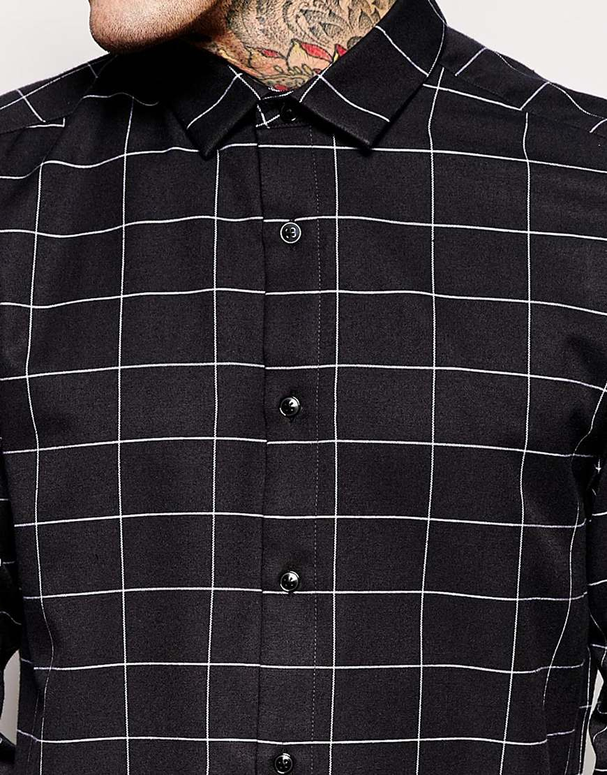 Asos Smart Shirt In Longline With Flannel Grid Check in Black for ...
