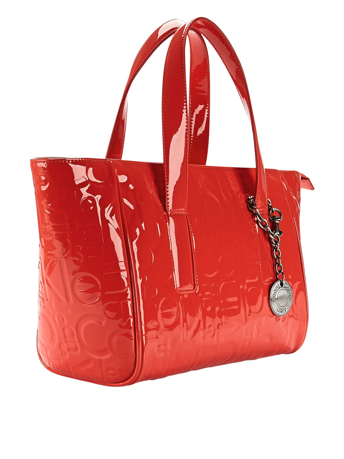 calvin klein patent logo shopper bag in red coral lyst. Black Bedroom Furniture Sets. Home Design Ideas