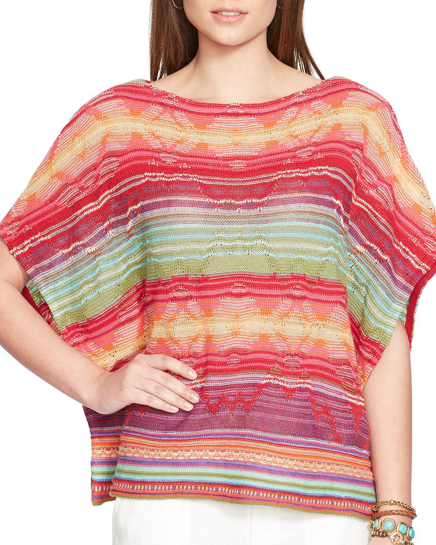 Knitting Pattern Striped Poncho : Ralph lauren Lauren Serape Stripe Knit Poncho Top Lyst