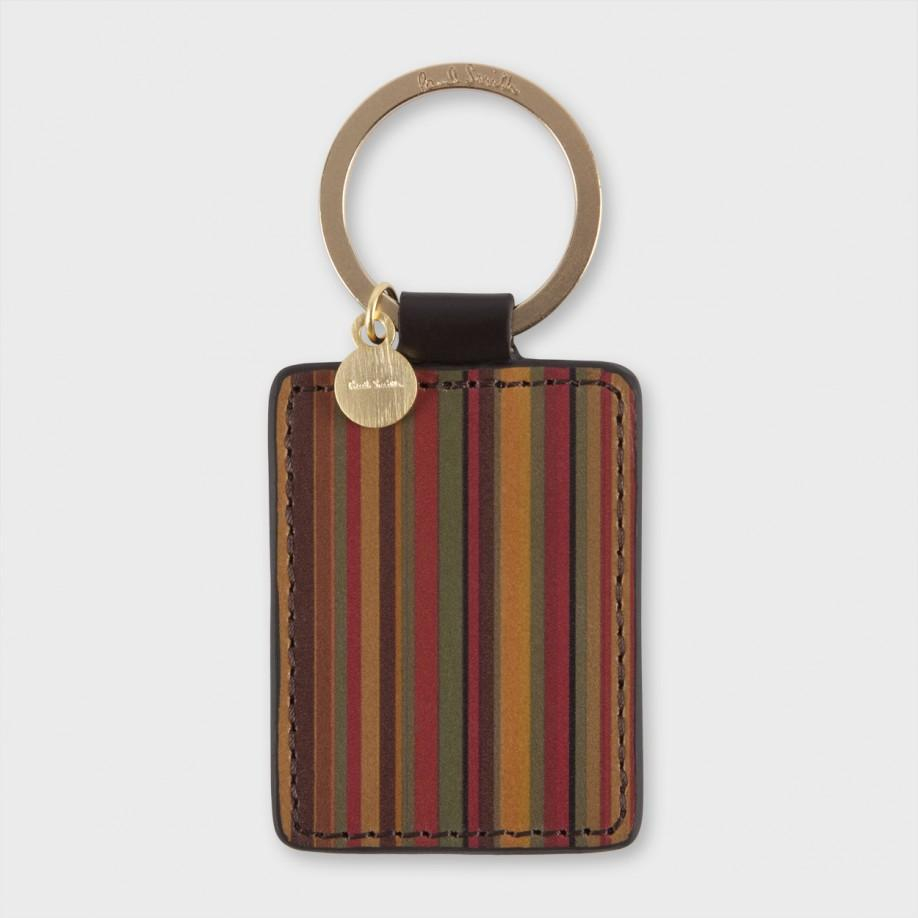Lyst Paul Smith Vintage Stripe Leather Keyring In Black