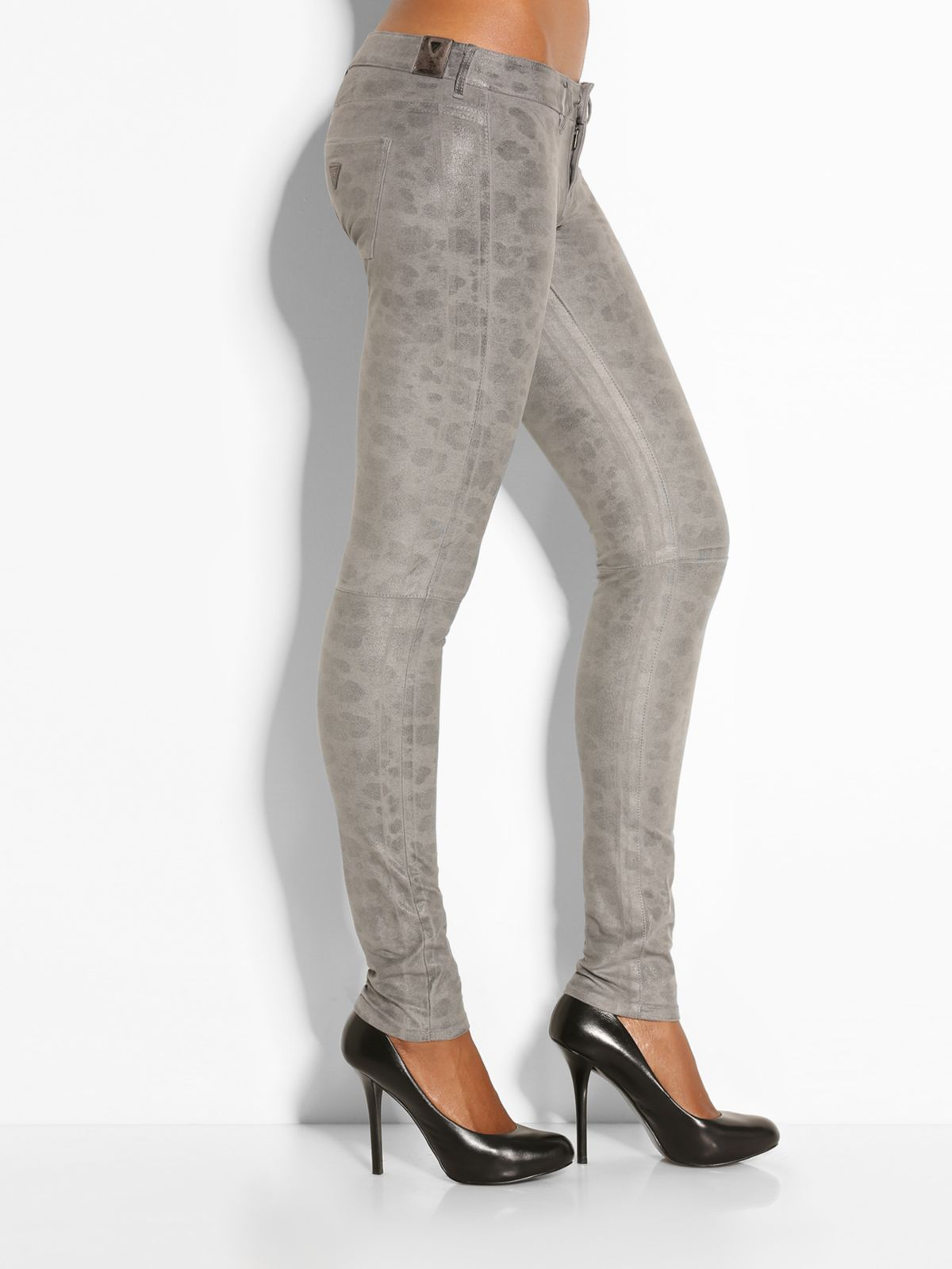 Guess Jegging Biker Animal Pant in Gray | Lyst