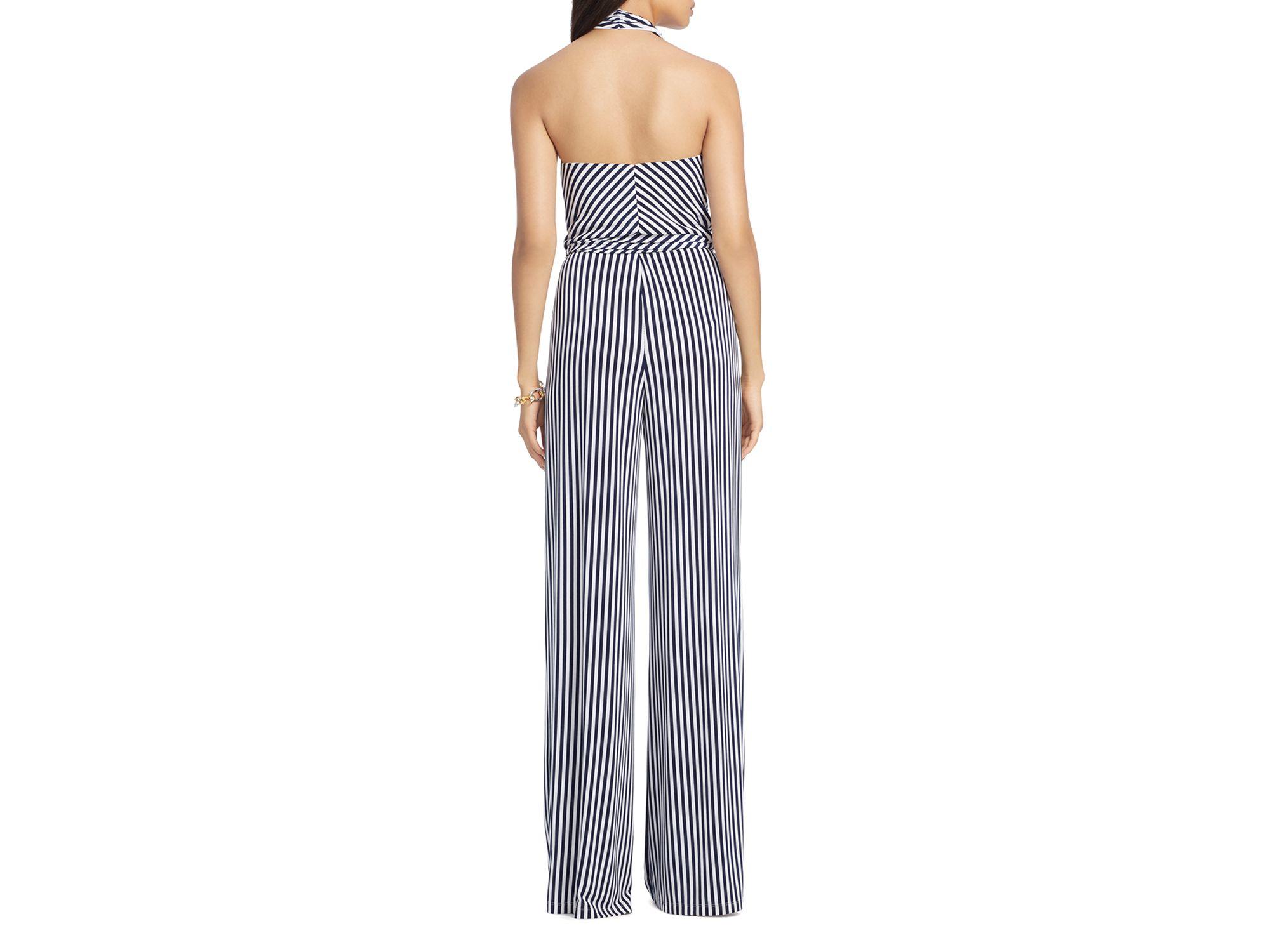 10b2d9bedd18 Lyst - Ralph Lauren Lauren Striped Jumpsuit in Blue