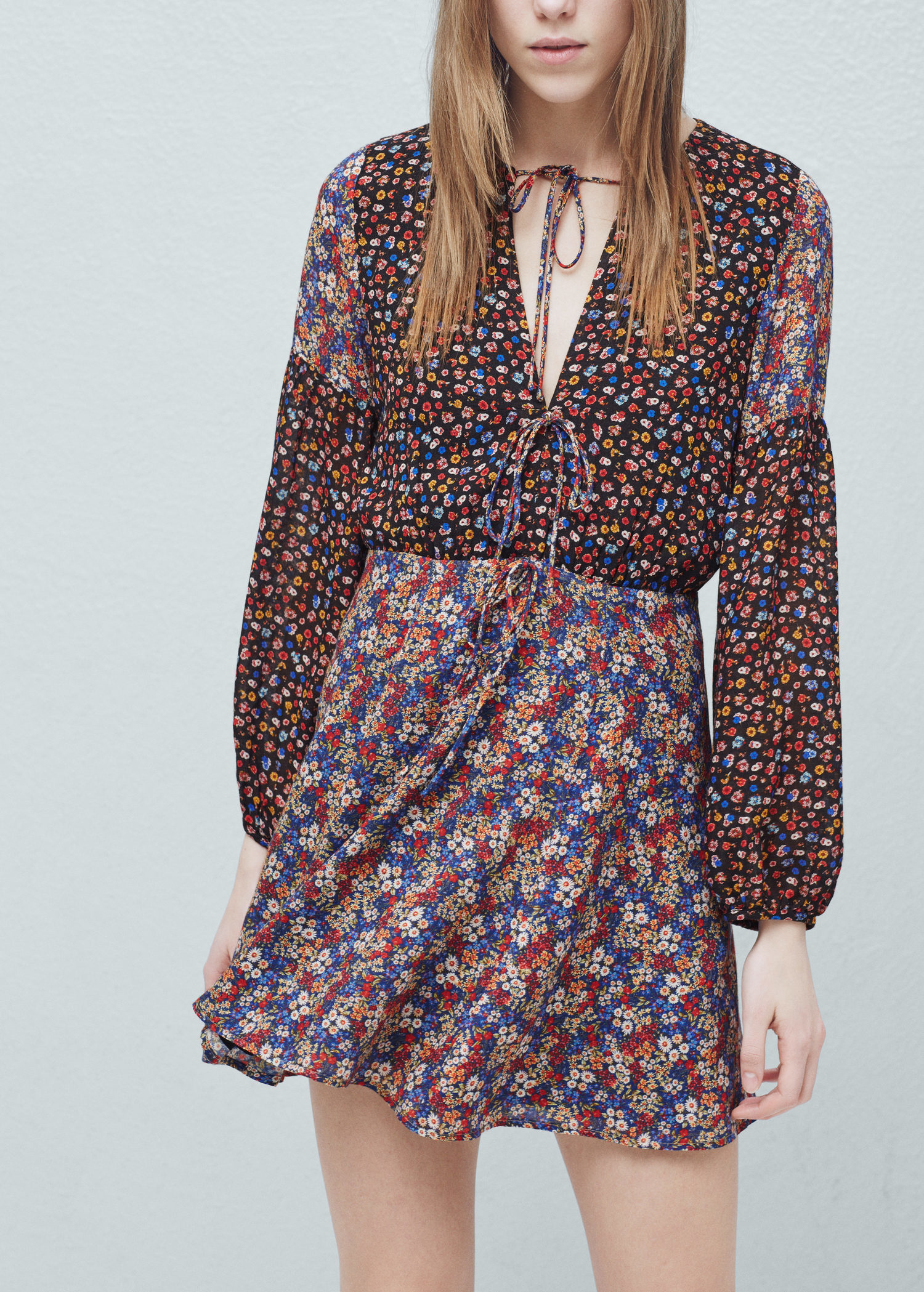 Mango floral print dress in black lyst for Robe jean mango