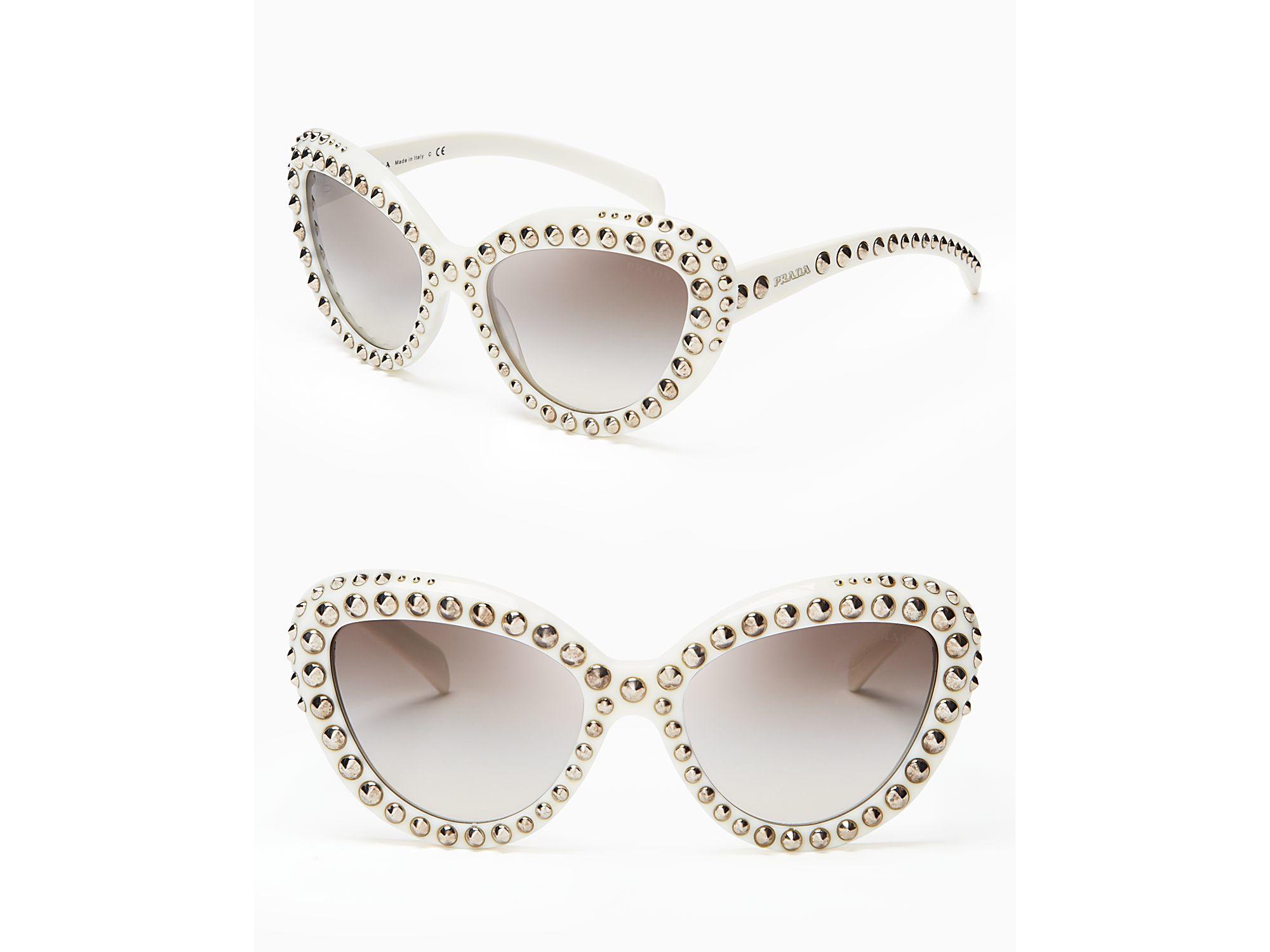 b8a7cb49c00 Lyst - Prada Absolute Ornate Cat Eye Sunglasses in Natural