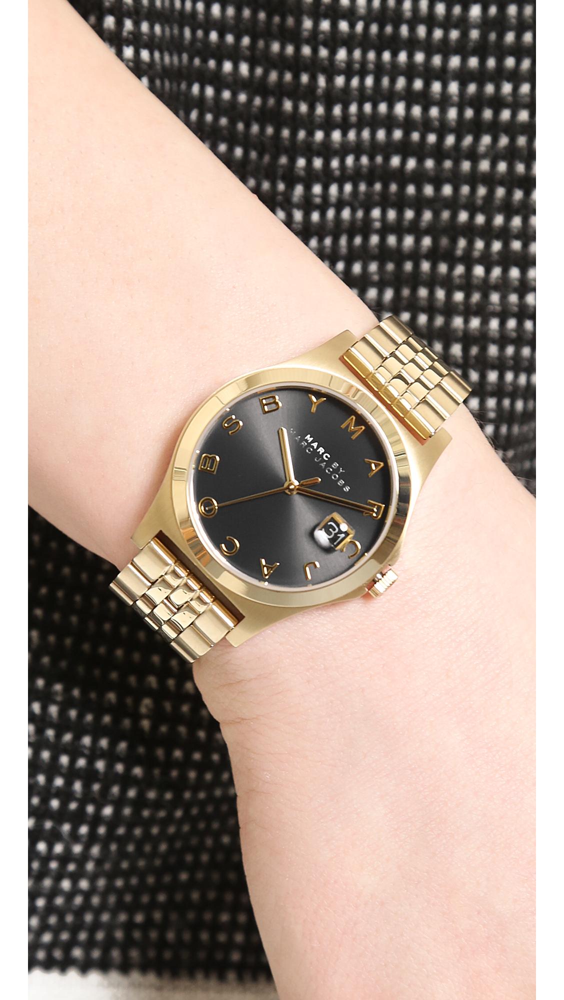 da56bb9dcecdb Marc By Marc Jacobs The Slim Watch - Gold/Black in Metallic - Lyst