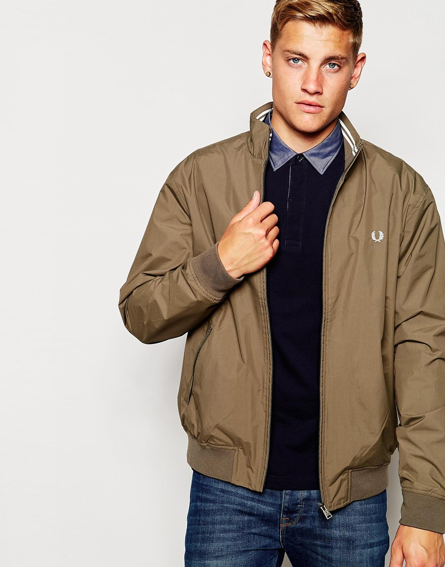 lyst fred perry track jacket in khaki in natural for men. Black Bedroom Furniture Sets. Home Design Ideas
