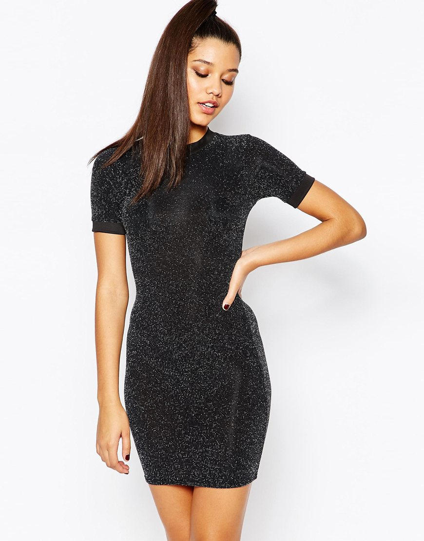 Missguided Metallic T-shirt Mini Dress in Black | Lyst