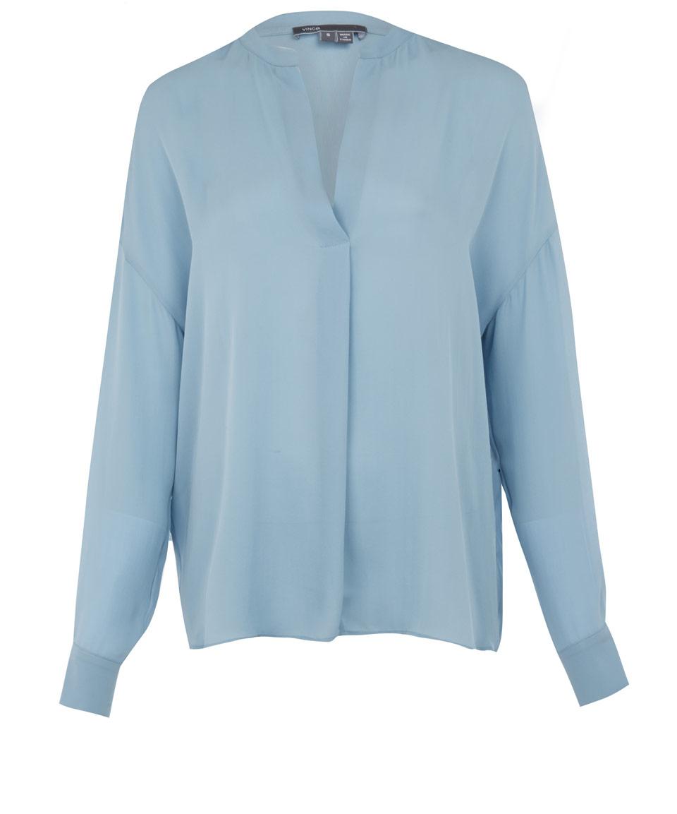 Vince Light Blue Silk Blouse in Blue | Lyst