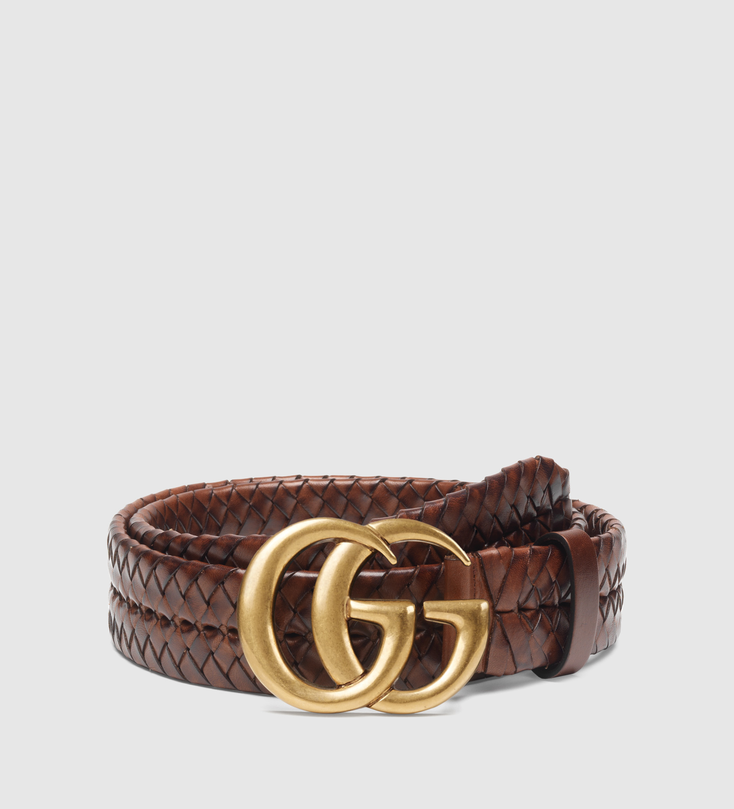 54298303241 Lyst - Gucci Braided Belt With Double G Buckle in Brown