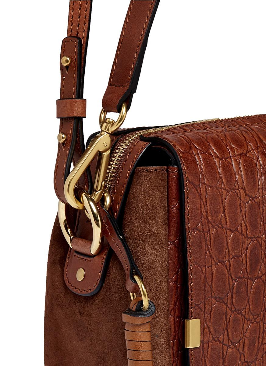 replica chloe handbags - Chlo�� Indy Croc-Embossed Leather Camera Bag in Brown | Lyst