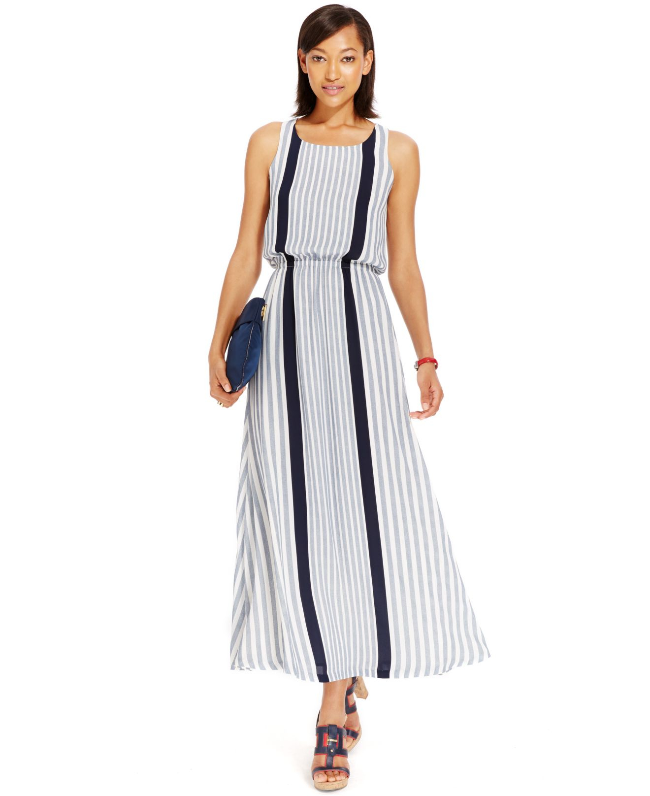 Lyst - Tommy Hilfiger Striped A-Line Maxi Dress in Blue