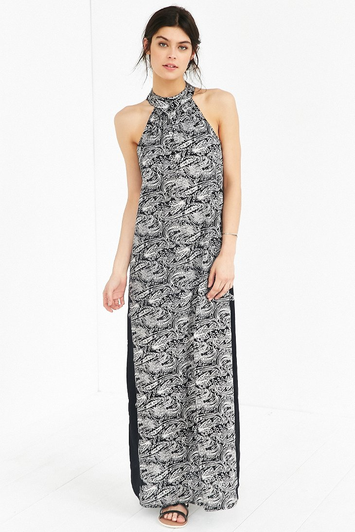 Band Of Gypsies Mock Neck Printed Maxi Dress In Black