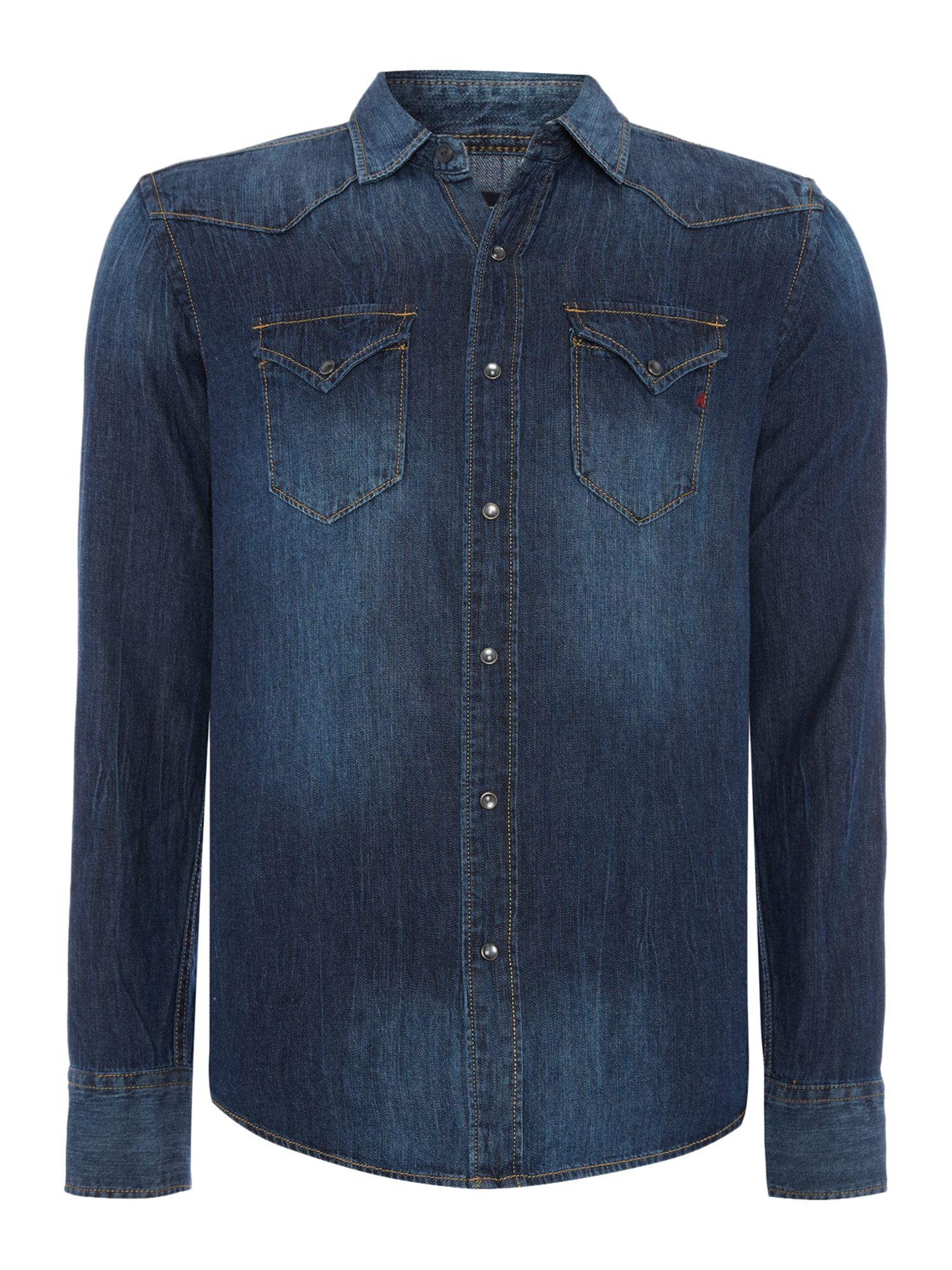 Replay denim shirt in blue for men lyst for Replay blue jeans t shirt