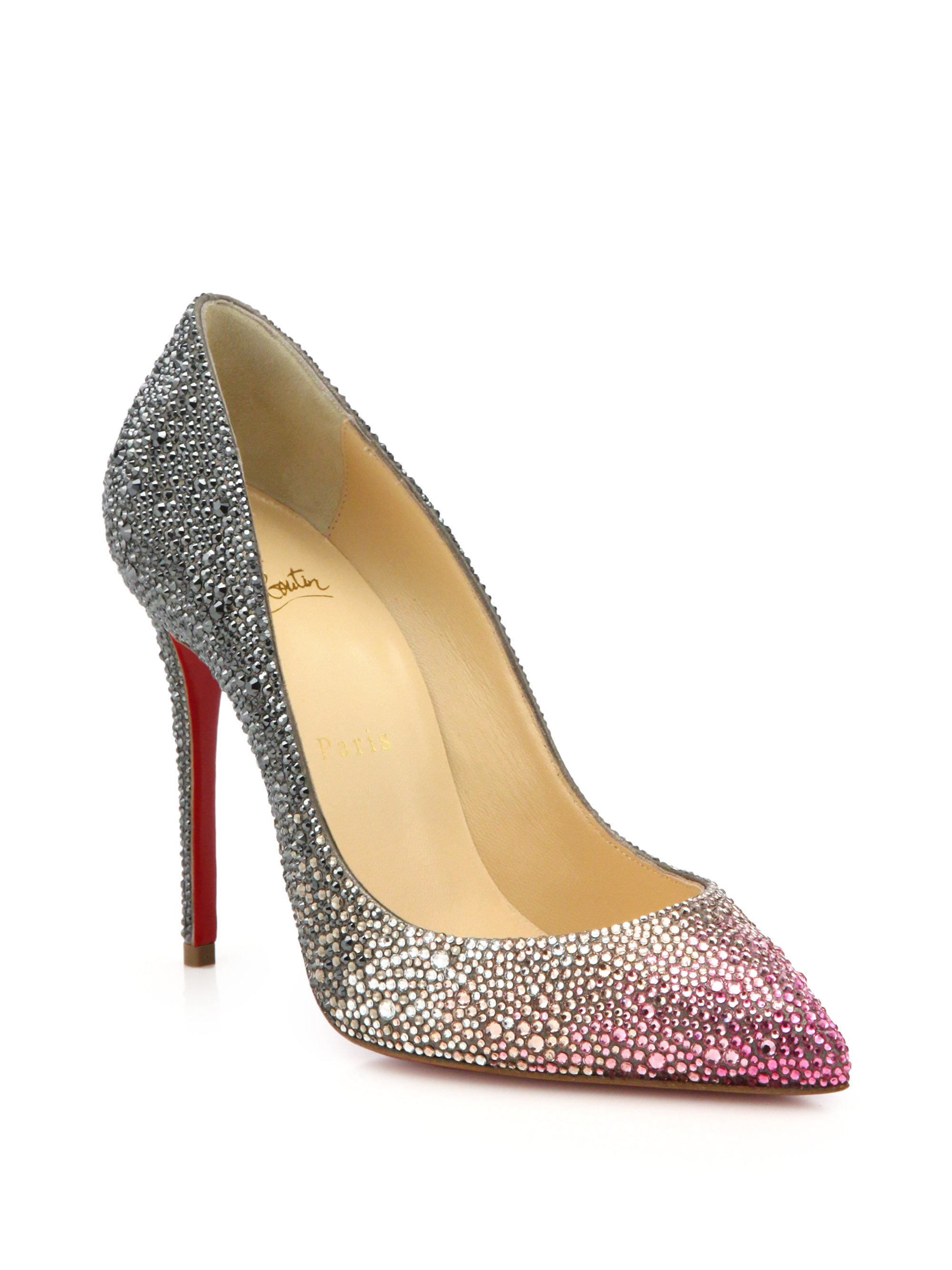 huge selection of 8cfbb b8abc Christian Louboutin Pink Pigalle Ombré Crystal-Embellished Pumps
