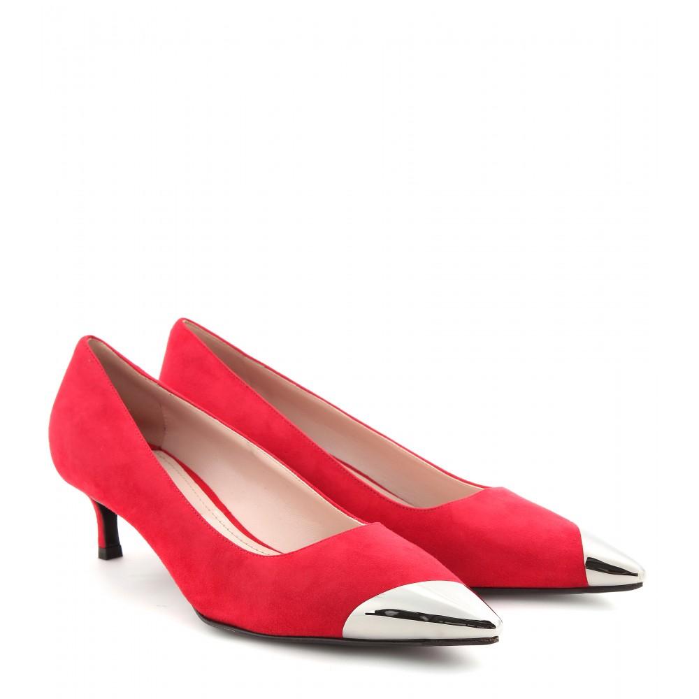 Miu miu Suede Kitten Heel Pumps with Metal Toe Cap in Red  Lyst