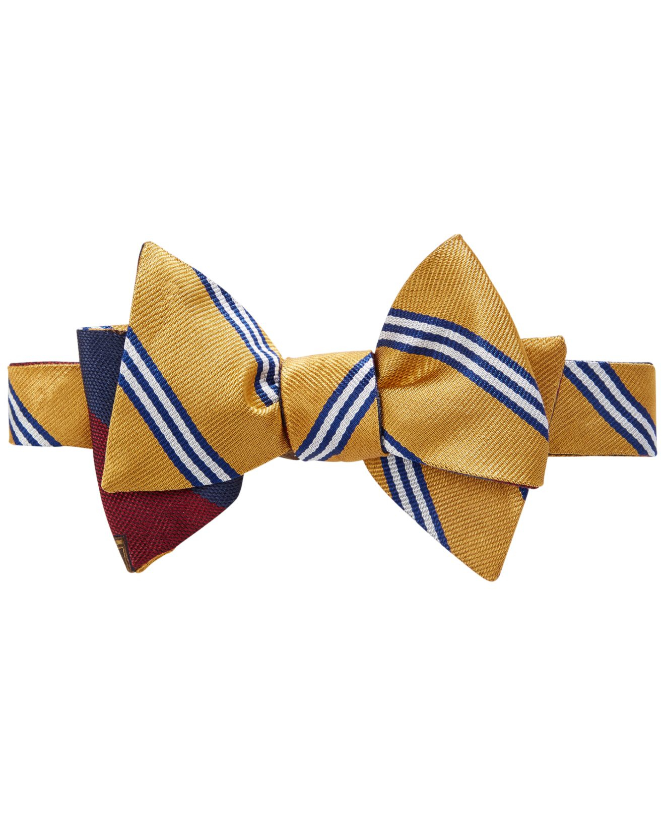 Brooks brothers Reversible Gold Stripe And Crest To-tie ...