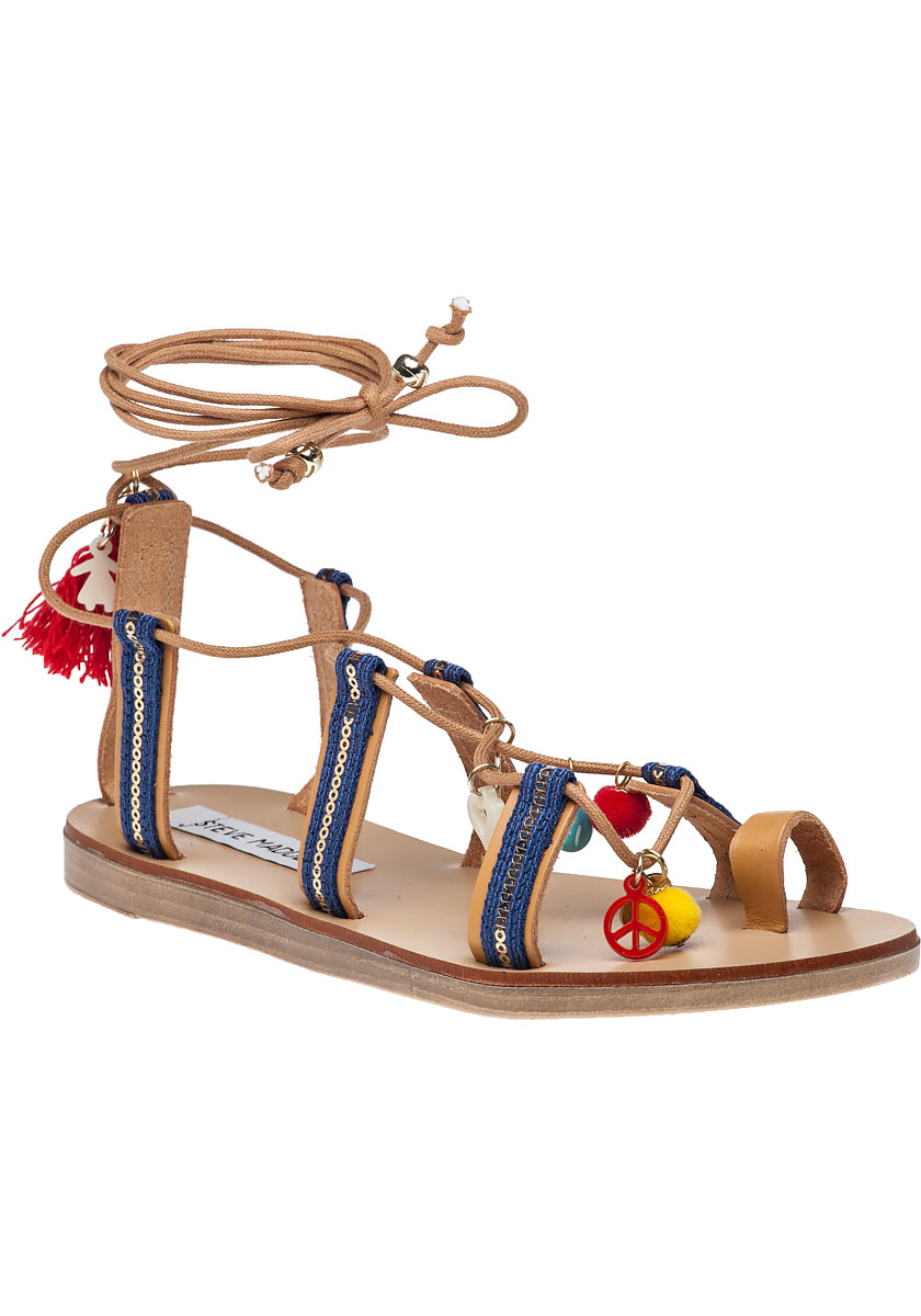 c59c3215174acd Lyst - Steve Madden Cailin Natural Multi Sandals in Blue