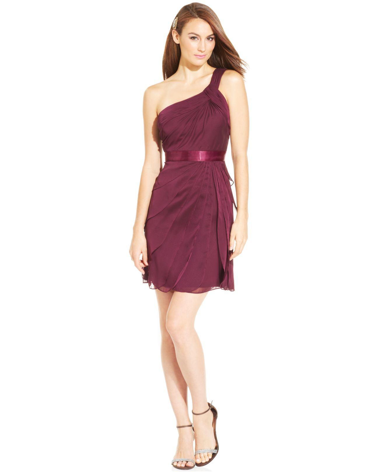 Lyst - Adrianna Papell One-Shoulder Tiered Chiffon Dress in Purple