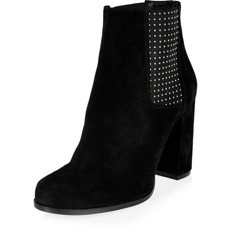 river island black suede embellished heeled ankle boots in
