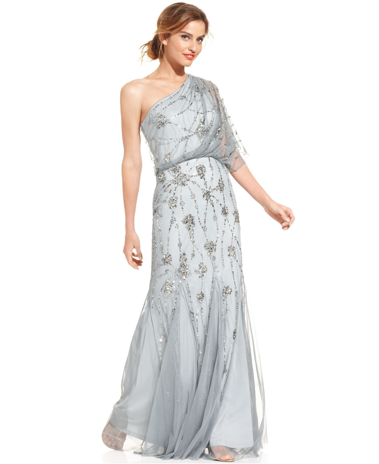 Lyst - Adrianna Papell Oneshoulder Beaded Blouson Gown in Gray