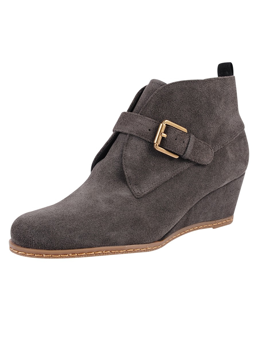 franco sarto amerosa suede wedge boots in gray charcoal