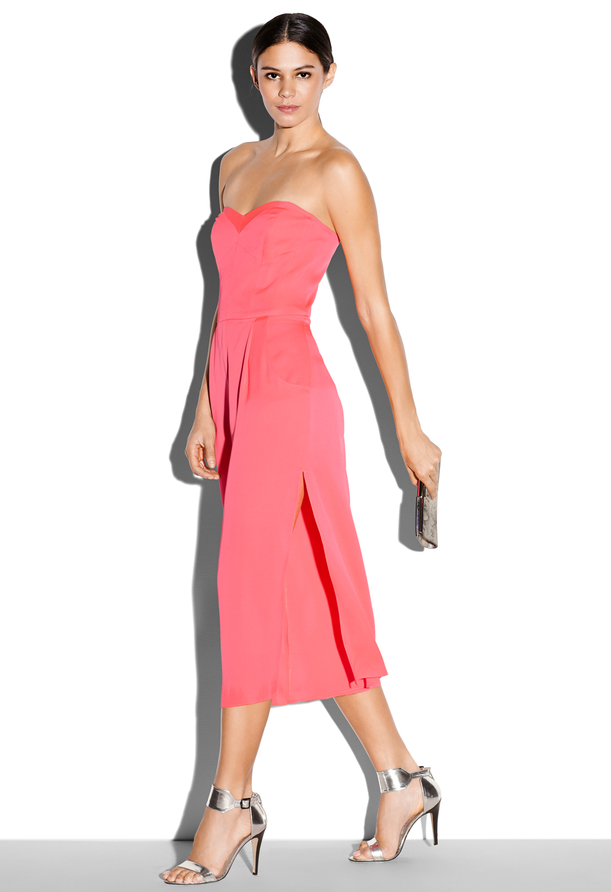 6c4f0c28c96a Lyst - MILLY Strapless Culotte Jumpsuit in Pink
