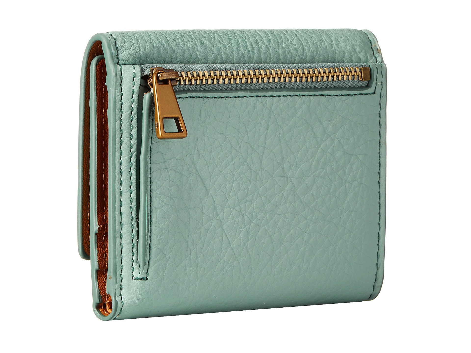 Lyst Fossil Emerson Trifold In Green Satchel Seaglass Gallery