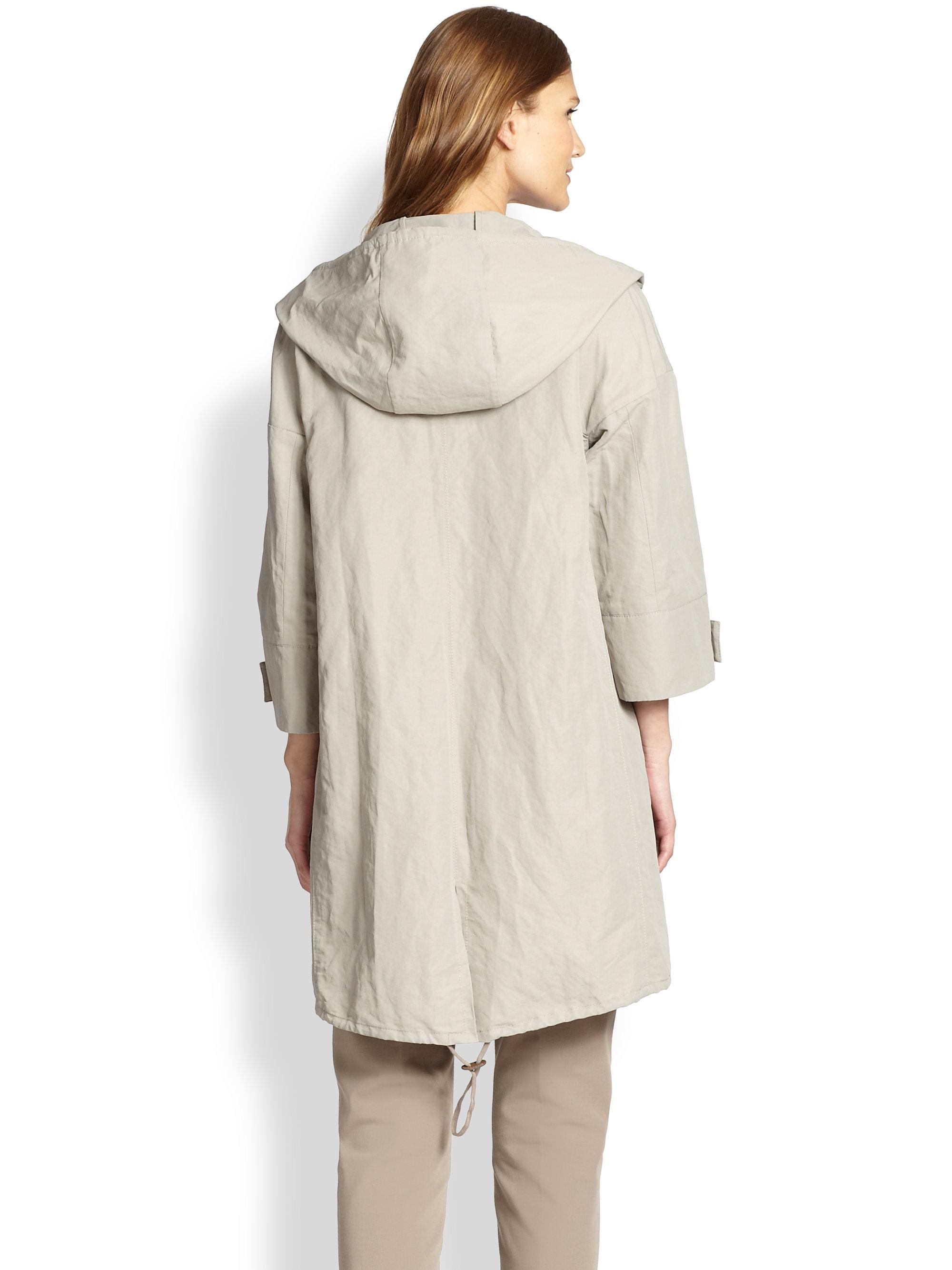 Lyst Peserico Hooded Rain Coat In Natural