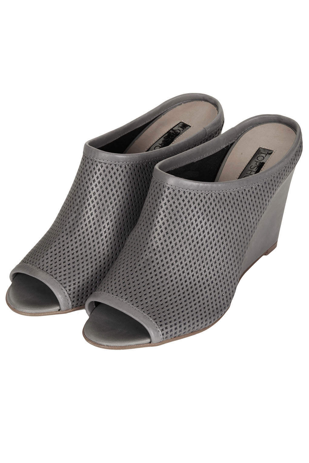 Lyst Topshop Waltz Perforated Mule Shoes In Gray