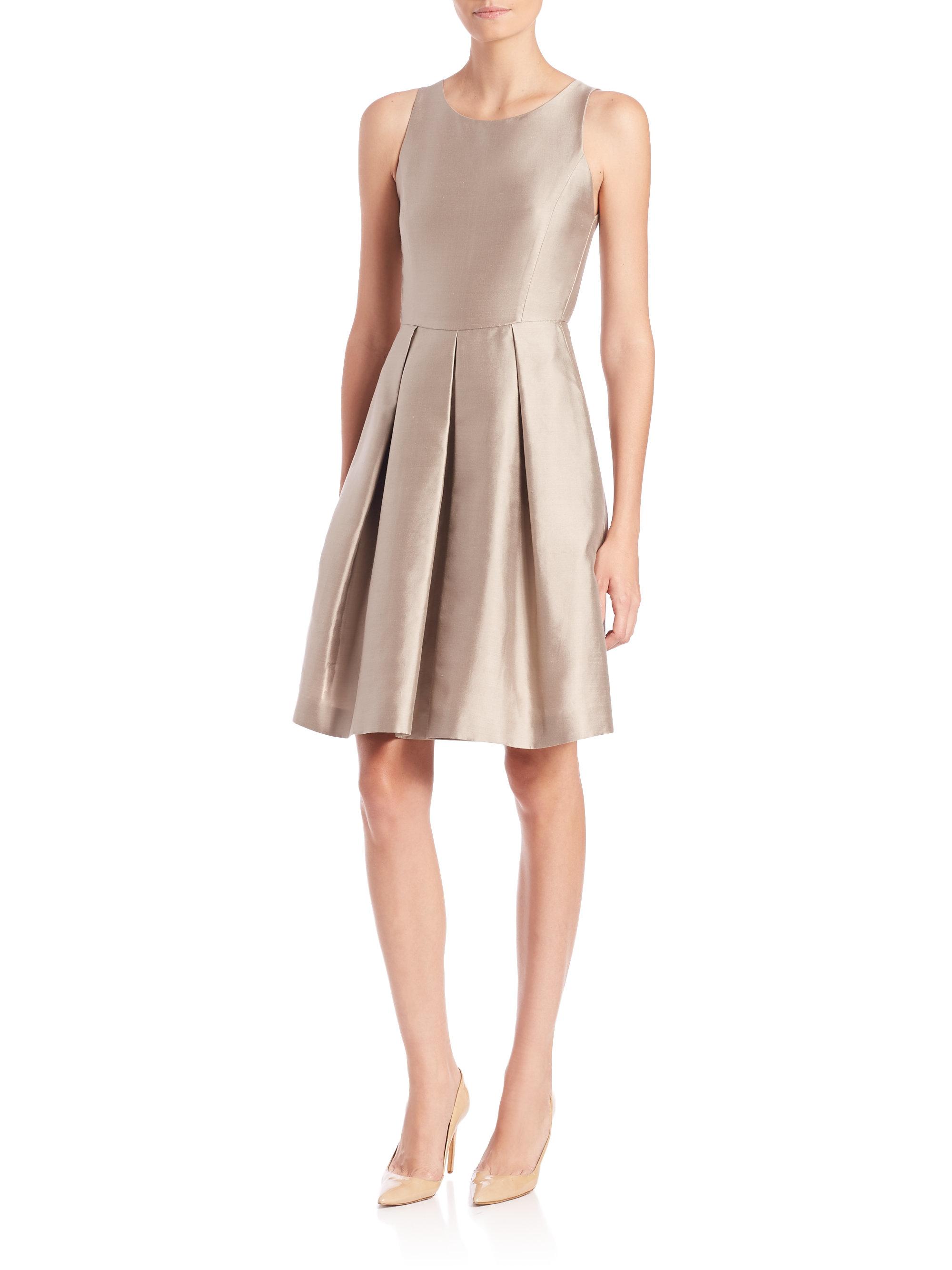 Lyst - Armani Taffeta Fit- -flare Dress in Brown d405eb7646ba
