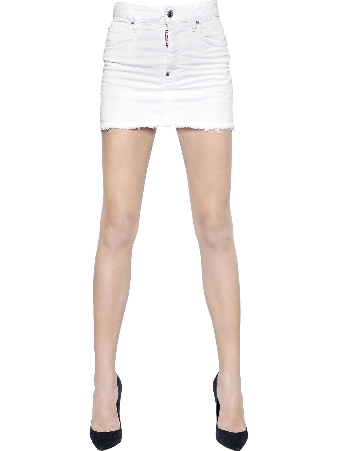 dsquared 178 cotton denim skirt with cut hem in white