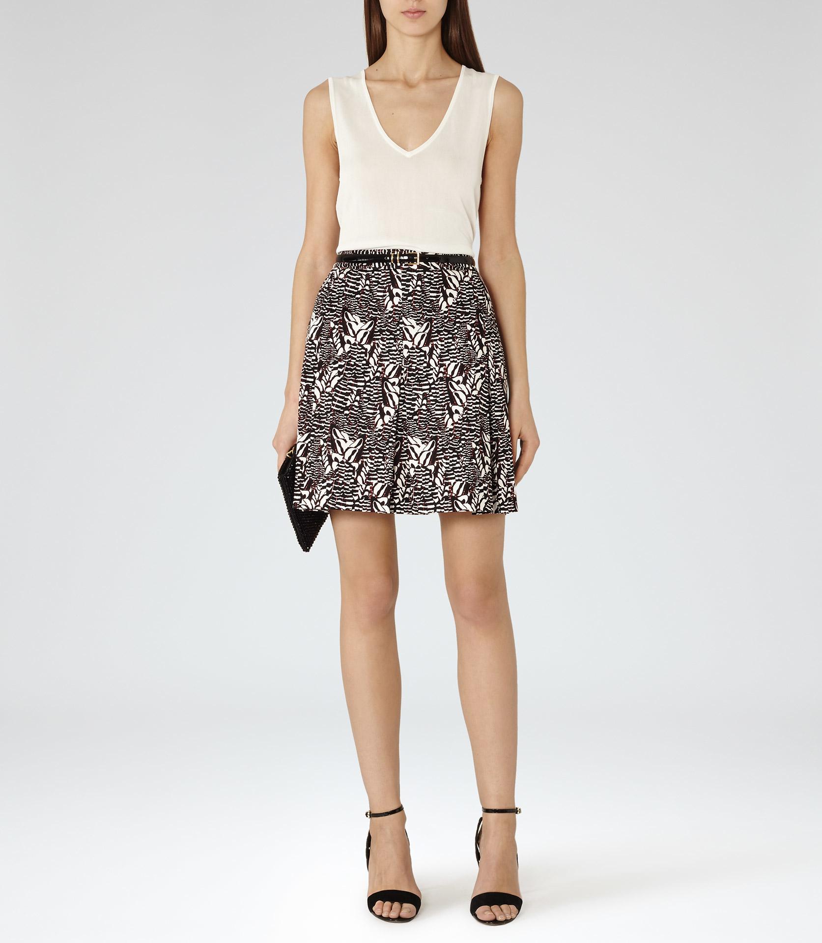 Reiss Sitara Printed A-line Skirt in Orange | Lyst