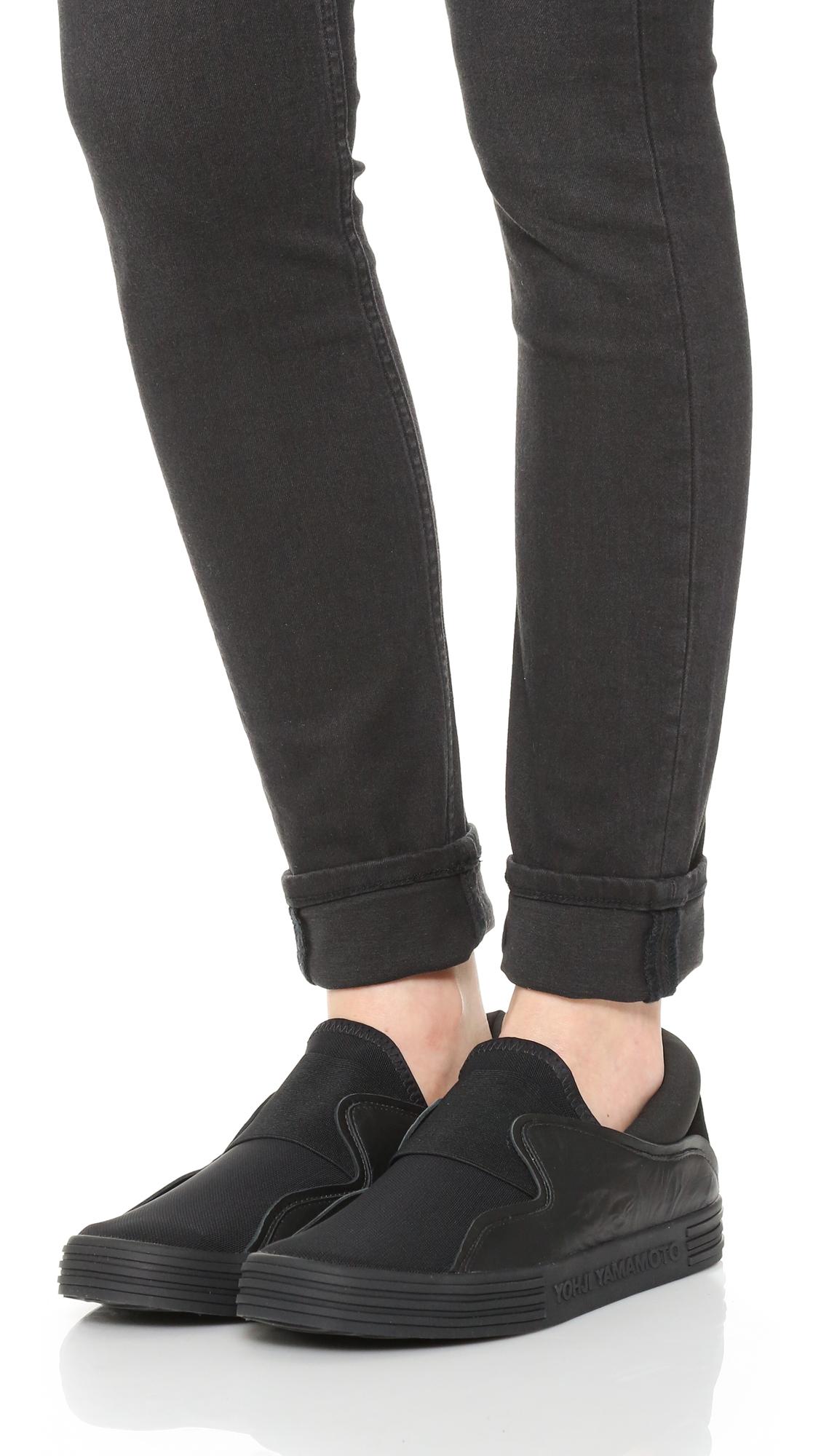 Y-3 Leather Sunja Slip On Sneakers in Black