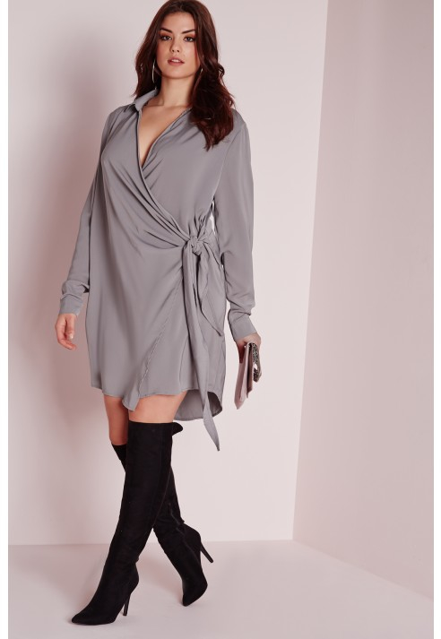 Missguided Plus Size Wrap Shirt Dress Grey In Gray Lyst