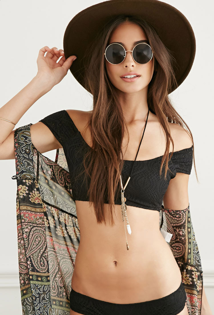 Forever 21 Black Crochet Off The Shoulder Bikini Crop Top Product Normal Cropped Women Of Indonesia