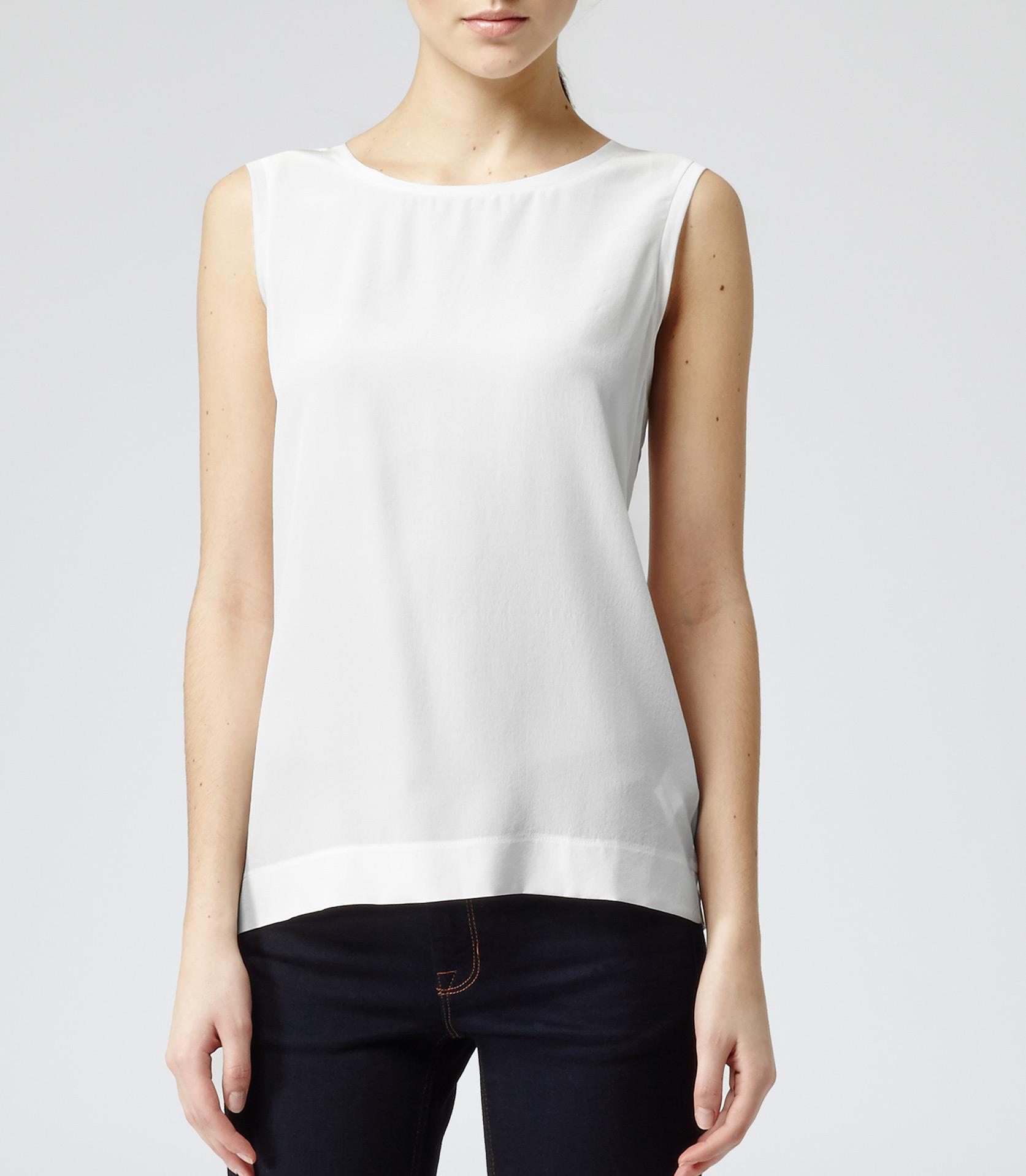 Lyst Reiss Kali Silk Front Sleeveless Top In White