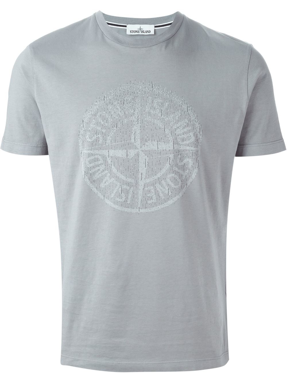 Stone island Logo Print T-shirt in Gray for Men (GREY) - Lyst