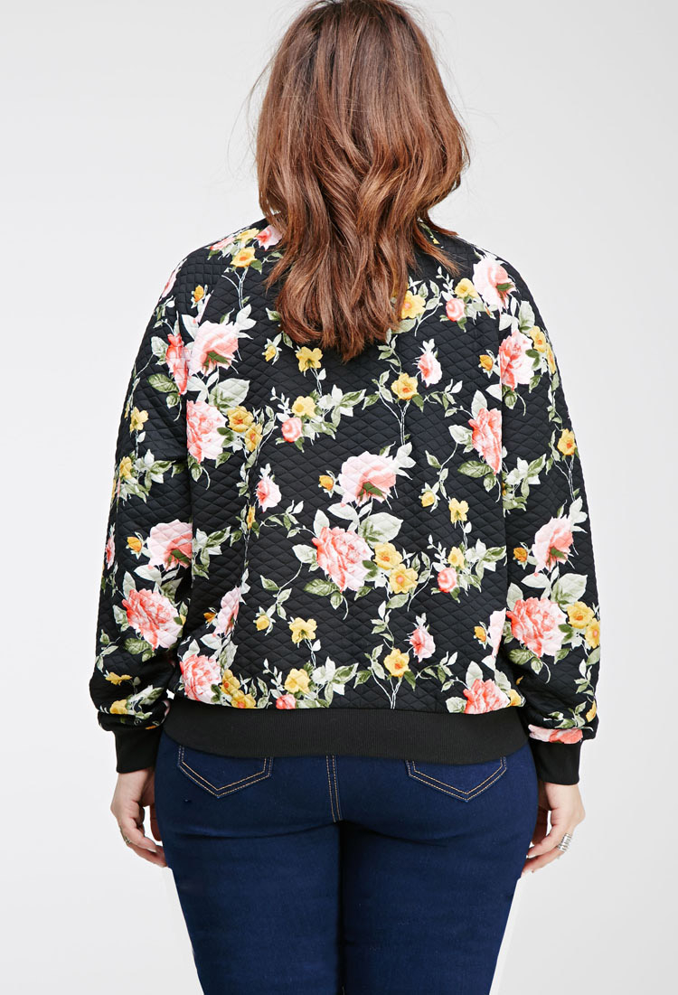 dd1e7e01e Forever 21 Black Plus Size Quilted Floral Bomber Jacket You've Been Added  To The Waitlist