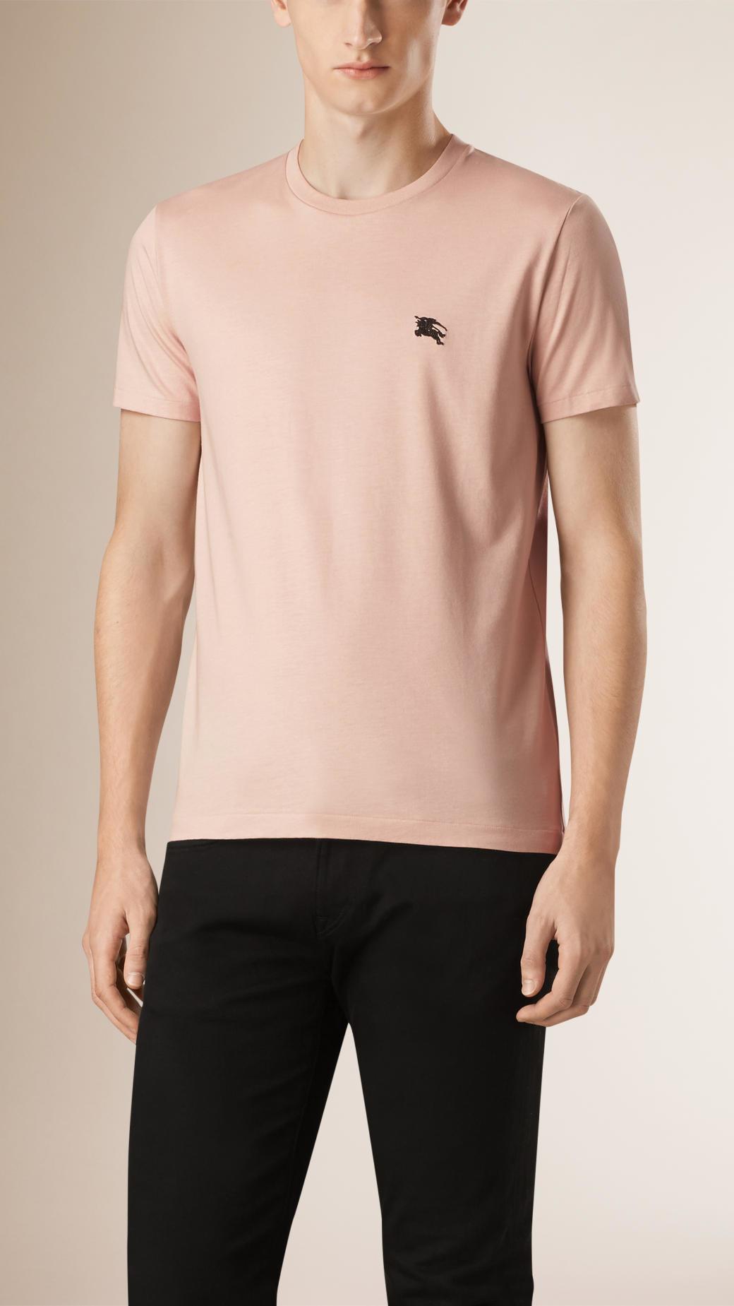 Burberry liquid soft cotton t shirt in beige for men for Soft cotton dress shirts