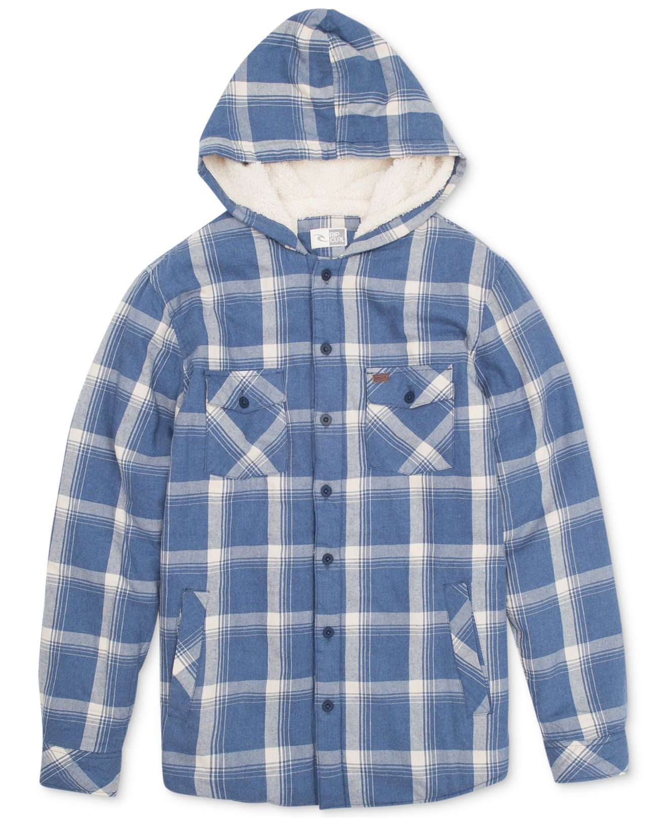 Rip curl hayward sherpa lined plaid shirt jacket in blue for Plaid shirt jacket mens