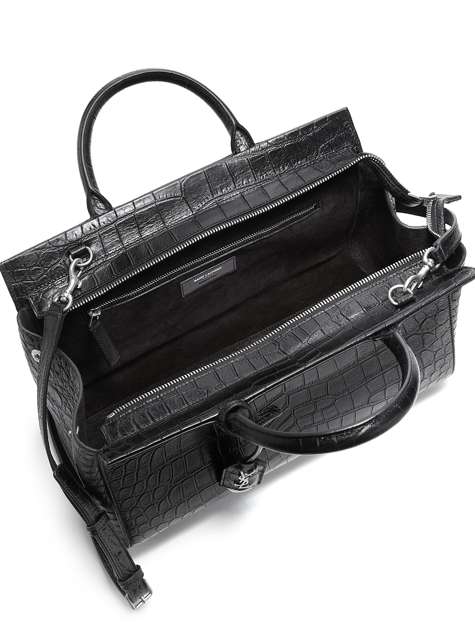 yves saint laurent looks - monogram small zip-around satchel bag, gray