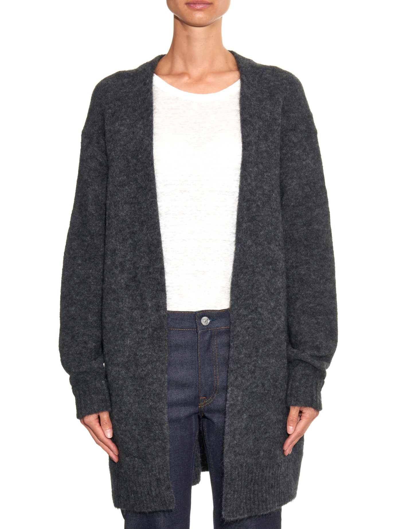 Acne studios Raya Mohair And Wool-blend Oversized Cardigan in Gray ...